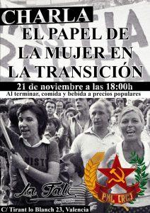 Cartel sobre el acto de la mujer en la transicion