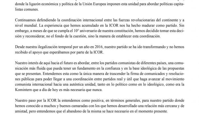 Carta Pública Dirigida A La ICOR. El PML(RC) Se Desvincula De La Coordinadora Internacional.