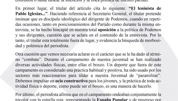 EN RESPUESTA AL ARTÍCULO PUBLICADO POR EL PERIÓDICO EL MUNDO